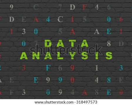 Data concept: Painted green text Data Analysis on Black Brick wall background with Hexadecimal Code