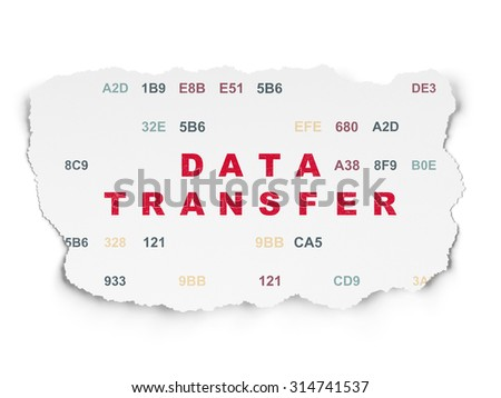 Data concept: Painted red text Data Transfer on Torn Paper background with  Hexadecimal Code