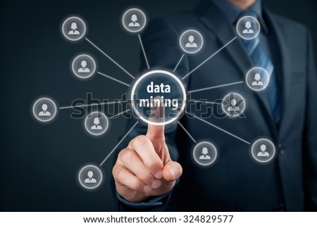 Data mining (dataminig) process and big data analysis (bigdata) issue concept. Analyst click on button with text data mining linked with people.