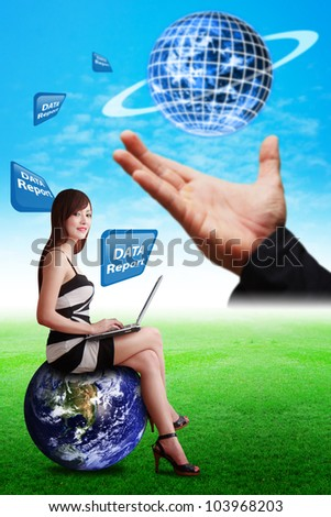 Data report from digital world to lady on globe : Elements of this image furnished by NASA
