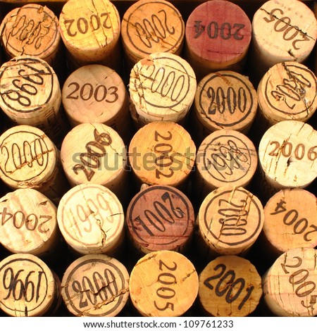 Dated Wine Bottle Corks with Staggered Heights.