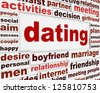 Dating creative word clouds message background. Looking for love conceptual poste - stock photo