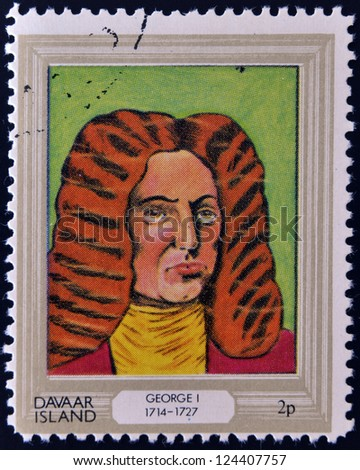 DAVAAR ISLAND - CIRCA 1977: A stamp printed in Davaar Island dedicated to the kings and queens of Britain, shows King George I (1714 - 1727), circa 1977