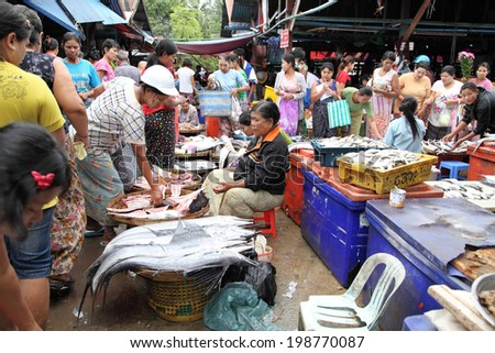 DAWEI, MYANMAR - JULY 15 : Dawei morning market ocean offers food security on July 15 , 2013. A city in southeastern Myanmar and is capital of Tanintharyi Region.