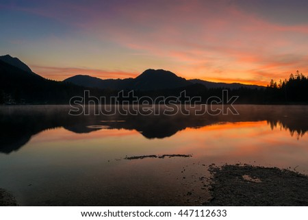 dawn at lake Hintersee in the Alps of Bavaria, Germany