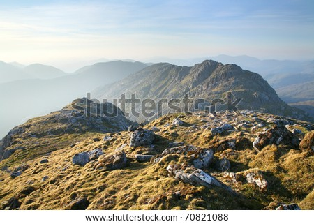 Dawn on a mountaintop on the Knoydart Peninsula, in the western Highlands of Scotland.