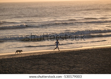 Dawn walk on the beach