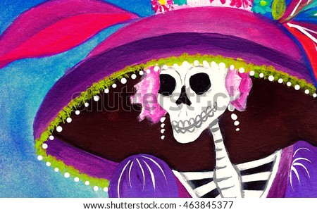 Day of the Dead Catrina Skeleton, Mexican Elegant Death illustration