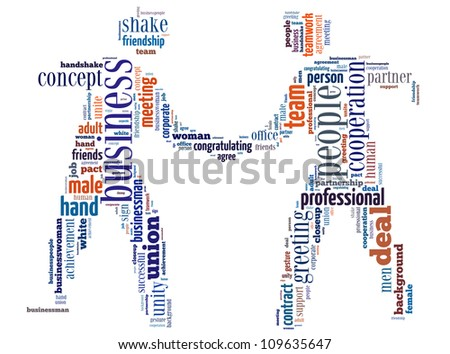 Deal info-text graphics and arrangement concept (word cloud) in the shape of businessman shake hand