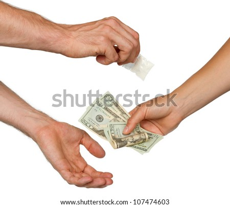 Dealer (man) selling cocaine drugs bag to a paying woman, isolated on white