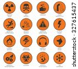 Death and dangerous hazard black on orange icons set isolated  illustration - stock vector