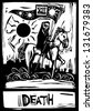 Death Tarot card with death riding a horse - stock vector