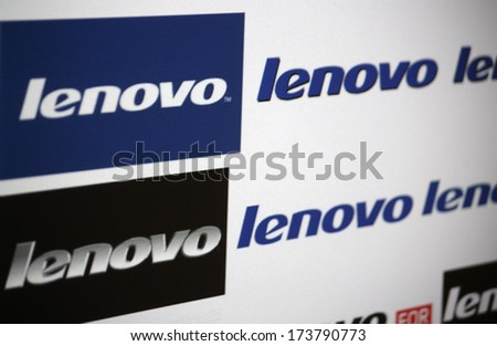 "DECEMBER 2013 - BERLIN: the logo of the brand ""Lenovo""."