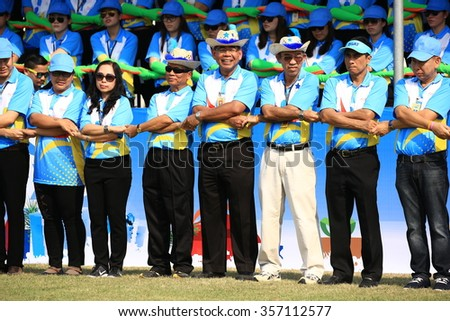 DECEMBER 25, 2015 ; NONTHABURI - THAILAND : Parade of Sport day at Electricity generating authority of Thailand, Nonthaburi province.