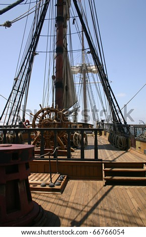 deck of an old sailing ship