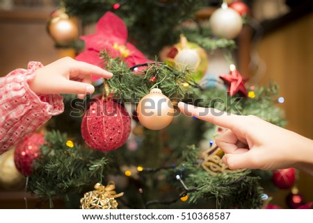 decorating with christmas closeup image woman sweater decorating christmas stock photo