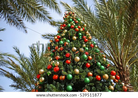 Decorated Christmas tree and palm trees in tropical holiday location