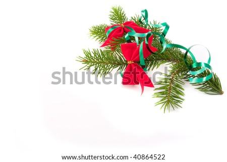 decorated christmas-tree branch with bow