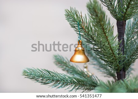 Decorated Christmas tree, vivid red sparkling ball,selective focus