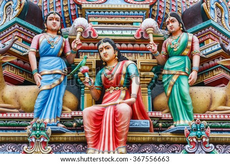 Decoration of the Hindu temple in Singapore
