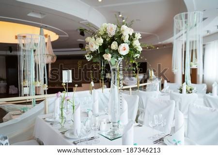 Beautiful Flower Bouquet Restaurant Interior Stock Photo