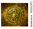 Decorative Art of Lanna Thai;Engraving of the gold value. - stock photo