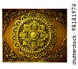 Decorative Art of Lanna Thai. Engraving of the gold value. - stock photo