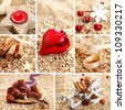 Decorative Christmas collage with spices, decorations, handmade chocolates and a red heart on a textured golden background for your greeting card or invitation - stock photo