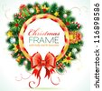 Decorative Christmas Wreath with Ribbon, Candy and Decoration element - stock photo