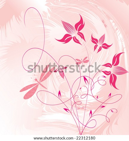 Decorative flowers on grunge background. Please see some similar pictures from my portfolio.