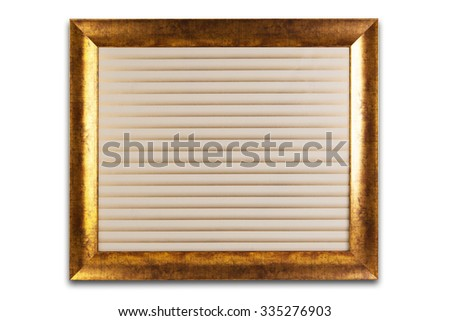 Decorative golden frame isolated on white. Texturized background.