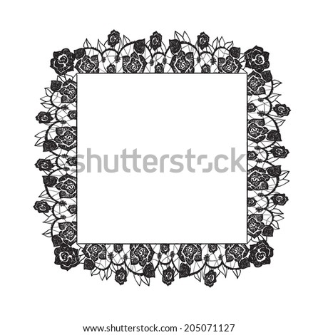 decorative lacy floral border and sample text