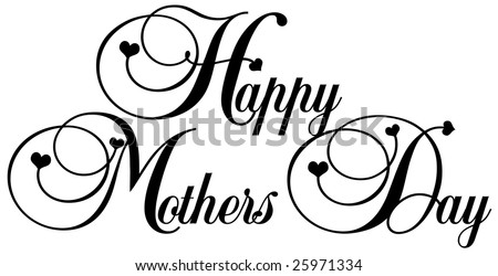 decorative lettering happy mothers day in black with little black hearts