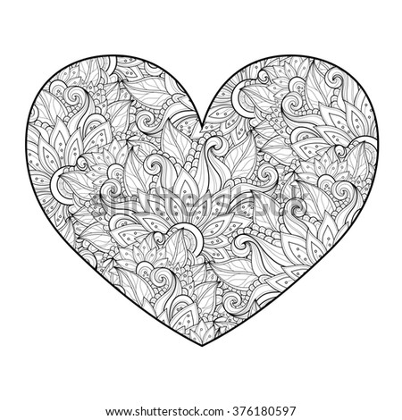 Decorative Monochrome Floral Heart. Valentine's Day Greeting Card, Ornate Holiday Symbol