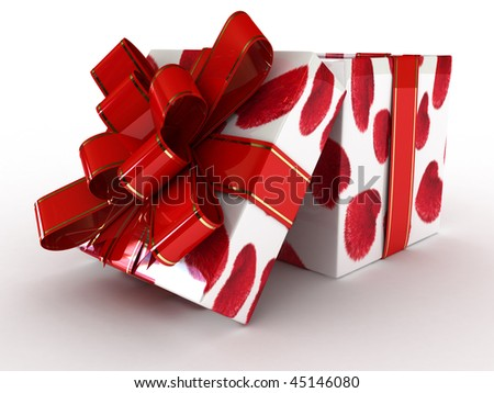 Decorative wrapped present on white background (Valentine day)