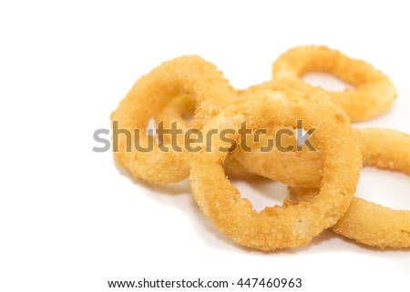 Deep fried onion ring on white background with copy space.