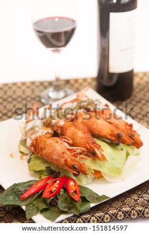 Deep fried prawn with Thai curry.