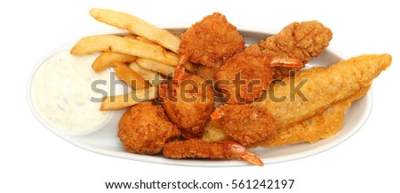 Deep Fried Shrimp, Fish and Chicken with fries and tarter sauce.