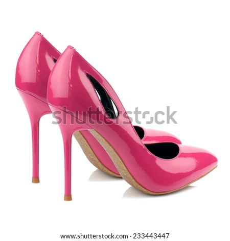 Deep pink patent high heel women shoes isolated on white.