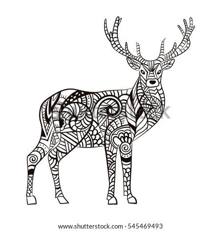Deer Hand Drawn Christmas Magic Horned Stock Vector