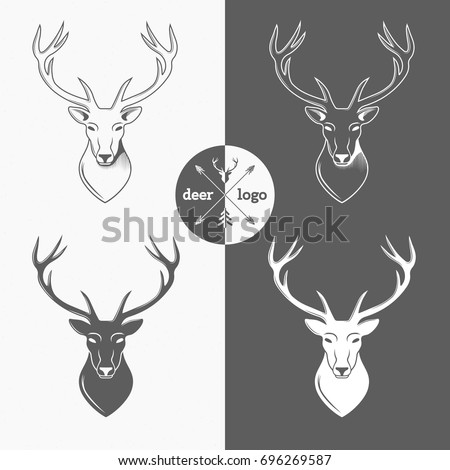 deer head logo on white background for hunter club hunting