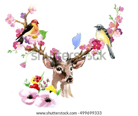 Deer spring bird on the horns made by hand drawn watercolor isolated on the white background