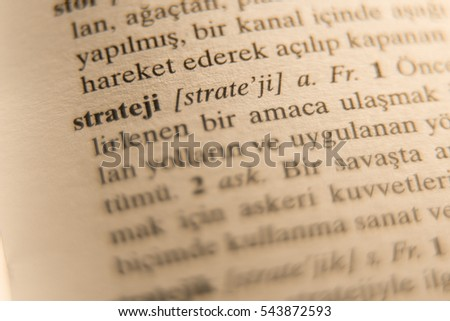 Definition of strategy word in Turkish dictionary.