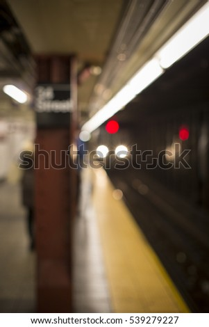 Defocused subway station in New York City for backdrop or background