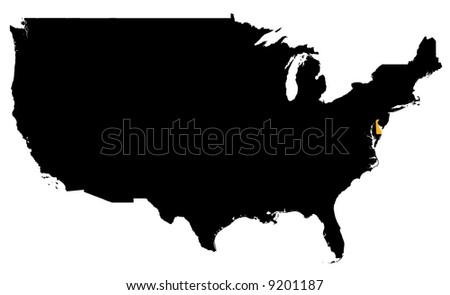Black United States Map Shape Stock Vector Shutterstock - Delaware location in usa map