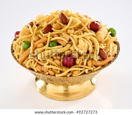 Delicious and crunchy Mix Nimco in golden antique bowl