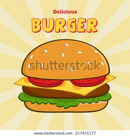Delicious Burger Design Card With Text. Raster Illustration