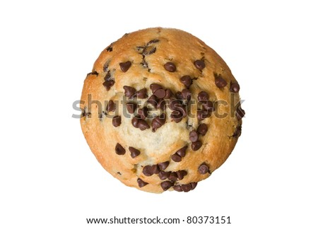 Delicious Chocolate Chip Muffin from Top View Isolated on a White Background