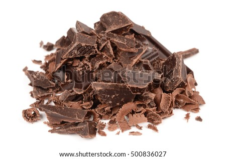 delicious dark chocolate on isolated white background
