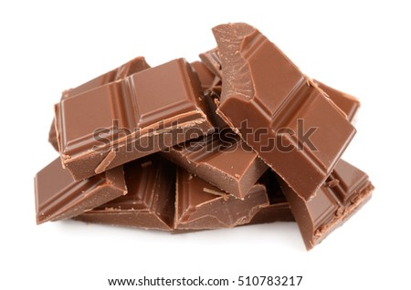 delicious milk chocolate on isolated white background